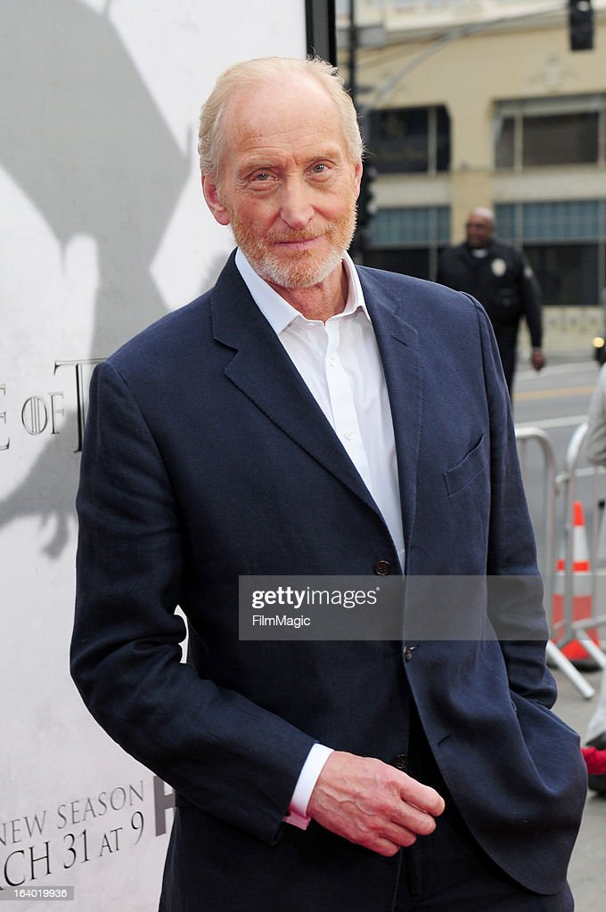 Actor <a gi-track='captionPersonalityLinkClicked' href=/galleries/search?phrase=Charles+Dance&family=editorial&specificpeople=206817 ng-click='$event.stopPropagation()'>Charles Dance</a> attends 'Game Of Thrones' Los Angeles premiere presented by HBO at TCL Chinese Theatre on March 18, 2013 in Hollywood, California.