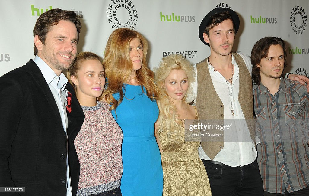 Actor Charles Esten, Actress Hayden Panettiere, Actress Connie Britton, Actress Clare Bowen, Actor Sam Palladio and Actor Jonathan Jackson attend the 30th Annual PaleyFest: The William S. Paley Television Festival honors Nashville held at Saban Theatre on March 9, 2013 in Beverly Hills, California.