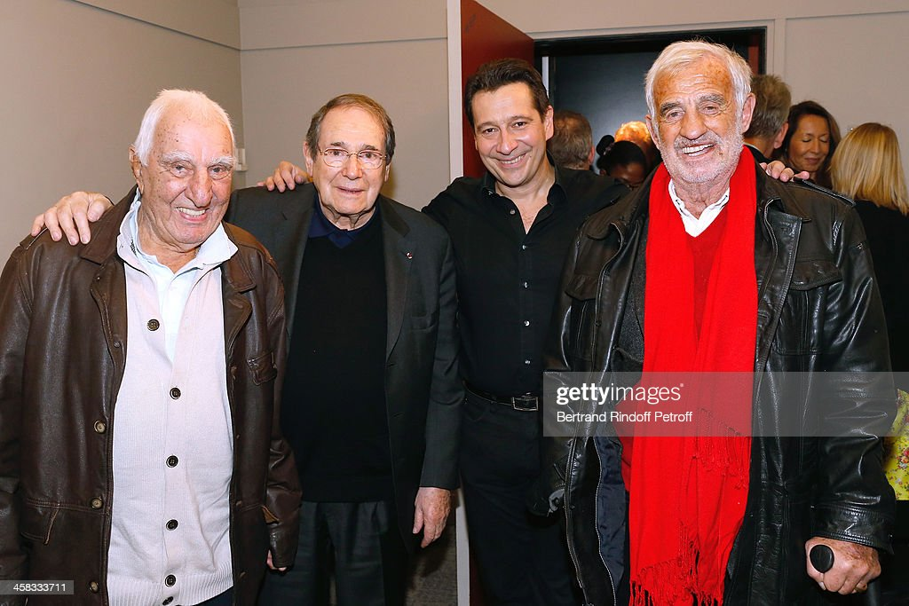 Actor Charles Gerard, director Robert Hossein, Laurent Gerra and actor Jean-Paul Belmondo pose backstage following the show of impersonator Laurent Gerra 'Un spectacle Normal' at L'Olympia on December 20, 2013 in Paris, France.
