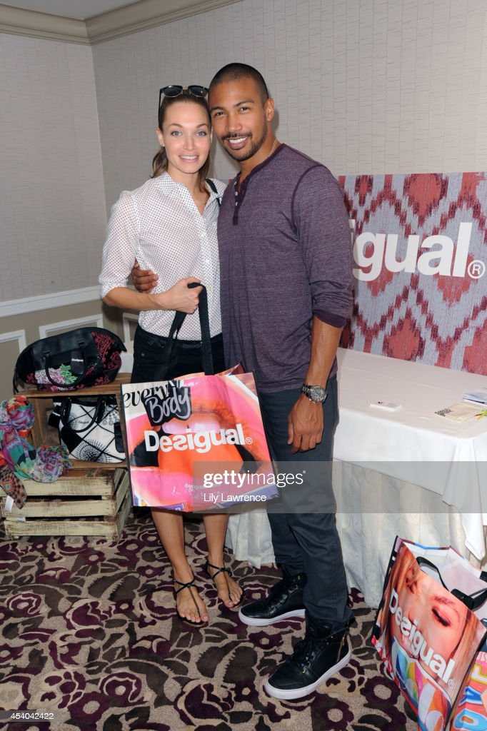 Actor Charles Michael Davis and girlfriend Katrina Amato attends the HBO Luxury Lounge featuring PANDORA at Four Seasons Hotel Los Angeles at Beverly Hills on August 23, 2014 in Beverly Hills, California.