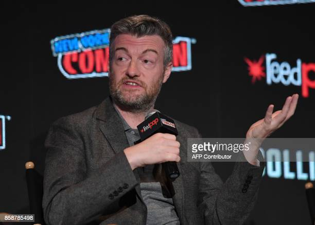 Actor Charlie Brooker discusses Netflix' Black Mirror onstage during New York Comic Con 2017 at Javits Center on October 7 2017 in New York City /...