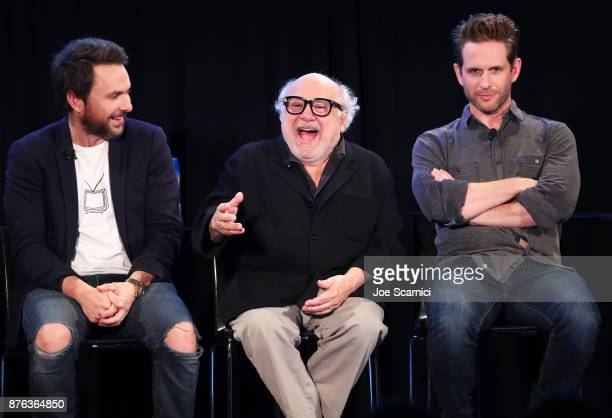 Actor Charlie Day actor Danny DeVito and actor/producer Glenn Howerton speak onstage during the 'It's Always Sunny' panel part of Vulture Festival LA...