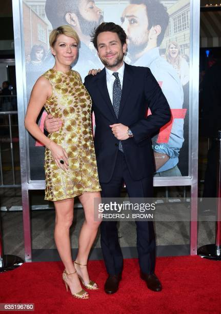 Actor Charlie Day and guest arrive for the world premiere of the film 'Fist Fight' in Los Angeles California on February 13 2017 / AFP / Frederic J...