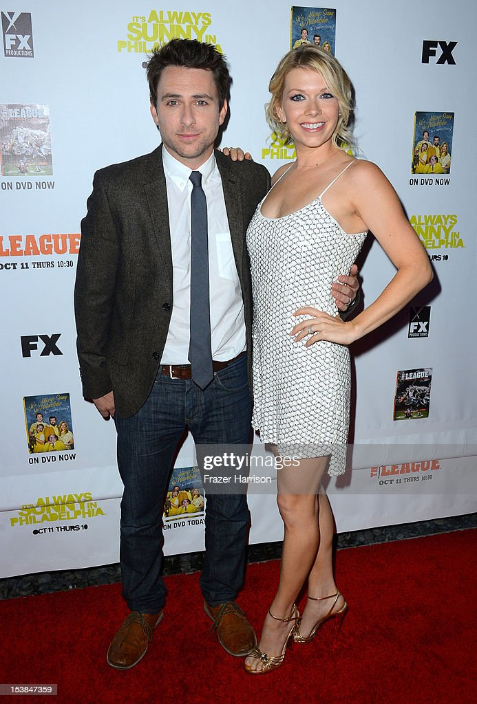 Actor <a gi-track='captionPersonalityLinkClicked' href=/galleries/search?phrase=Charlie+Day&family=editorial&specificpeople=537731 ng-click='$event.stopPropagation()'>Charlie Day</a> and Mary Elizabeth Ellis arrive at the Premiere Screenings of FX's 'It's Always Sunny In Philadelphia' Season 8 And 'The League' Season 4 -at ArcLight Cinemas Cinerama Dome on October 9, 2012 in Hollywood, California.