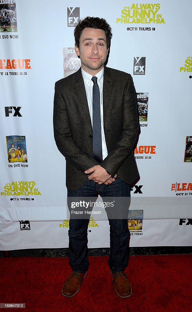 Actor Charlie Day arrives at the Premiere Screenings of FX's 'It's Always Sunny In Philadelphia' Season 8 And 'The League' Season 4 -at ArcLight Cinemas Cinerama Dome on October 9, 2012 in Hollywood, California.