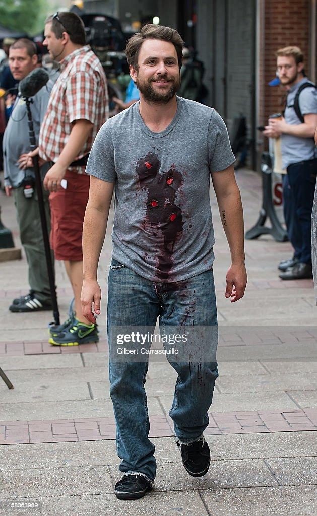 Actor Charlie Day is seen filming scenes of season 12 of It's Always Sunny In Philadelphia sitcom on July 1 2016 in Philadelphia Pennsylvania