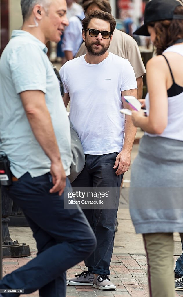 Actor <a gi-track='captionPersonalityLinkClicked' href=/galleries/search?phrase=Charlie+Day&family=editorial&specificpeople=537731 ng-click='$event.stopPropagation()'>Charlie Day</a> is seen filming scenes of season 12 of It's Always Sunny In Philadelphia sitcom in Philadelphia, Pennsylvania.