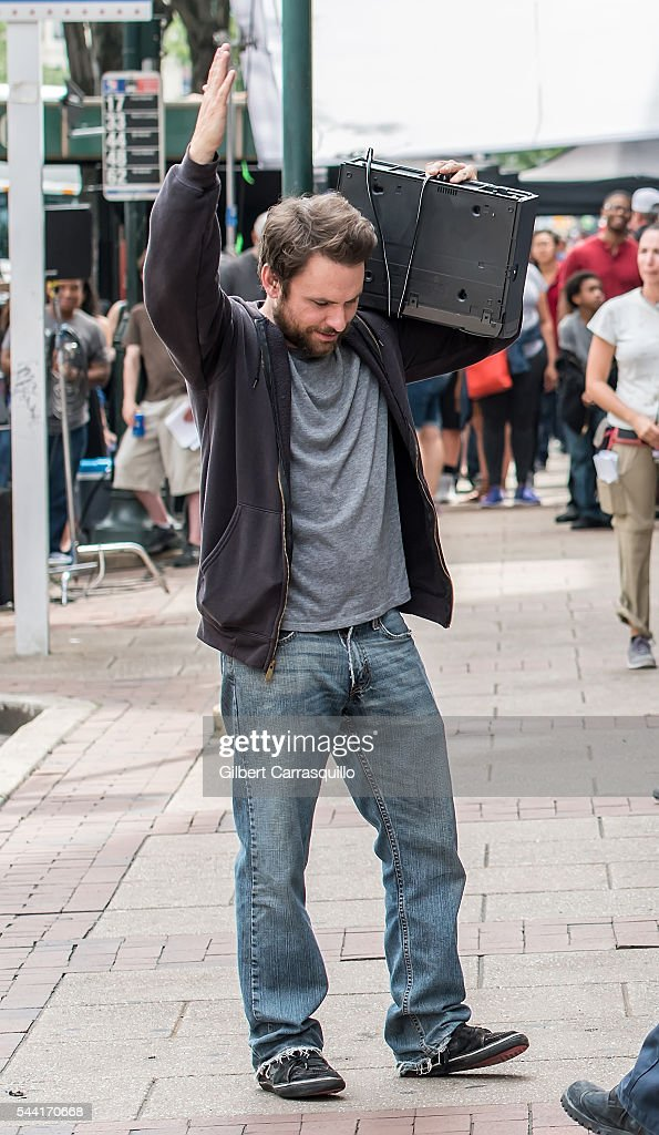 Actor <a gi-track='captionPersonalityLinkClicked' href=/galleries/search?phrase=Charlie+Day&family=editorial&specificpeople=537731 ng-click='$event.stopPropagation()'>Charlie Day</a> is seen filming scenes of season 12 of 'It's Always Sunny In Philadelphia' sitcom on July 1, 2016 in Philadelphia, Pennsylvania.