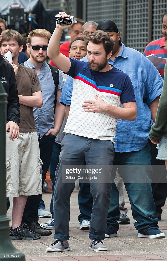 Actor Charlie Day is seen filming scenes of season 12 of 'It's Always Sunny In Philadelphia' sitcom on July 1, 2016 in Philadelphia, Pennsylvania.