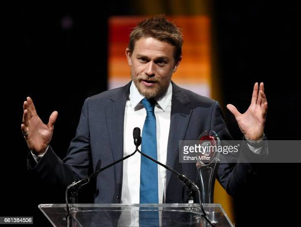 Actor Charlie Hunnam accepts the Male Star of the Year Award during the CinemaCon Big Screen Achievement Awards brought to you by the CocaCola...