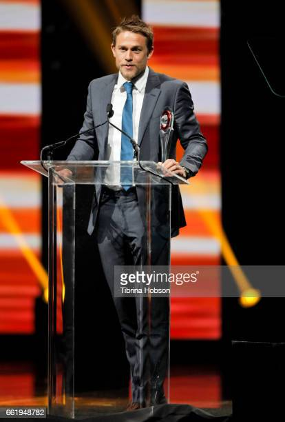 Actor Charlie Hunnam accepts the Male Star of the Year Award during the CinemaCon Big Screen Achievement Awards at The Colosseum at Caesars Palace...