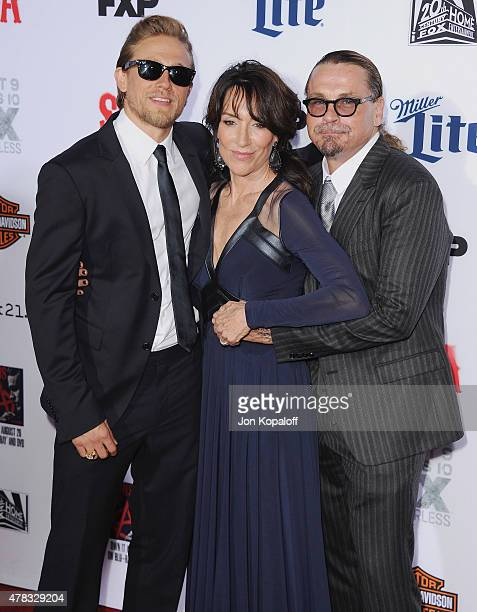 Actor Charlie Hunnam actress Katey Sagal and creator Kurt Sutter arrive at FX's 'Sons Of Anarchy' Premiere at TCL Chinese Theatre on September 6 2014...