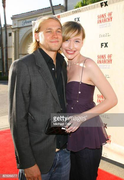 Actor Charlie Hunnam and girlfriend Morgana arrive at the FX Series Screening of 'Sons of Anarchy' held at Paramount Theater at Paramount Studios on...