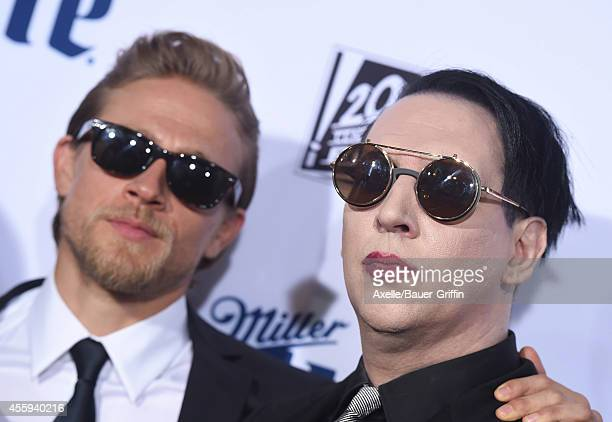 Actor Charlie Hunnam and singer Marilyn Manson arrive at FX's 'Sons Of Anarchy' premiere at TCL Chinese Theatre on September 6 2014 in Hollywood...