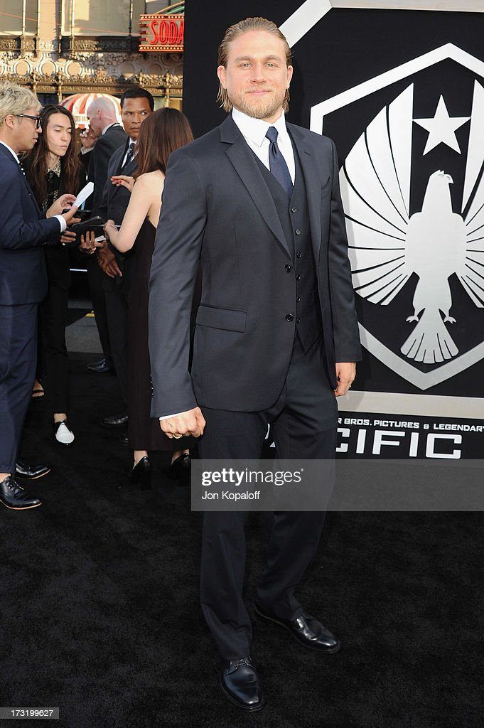 Actor Charlie Hunnam arrives at the Los Angeles Premiere 'Pacific Rim' at Dolby Theatre on July 9, 2013 in Hollywood, California.