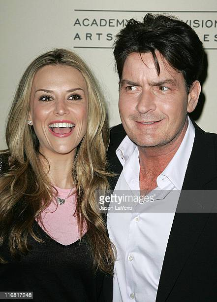 Actor Charlie Sheen and Brooke Mueller attend An Evening with Two and a Half Men held at The Leonard Goldenson Theater on February 27 2008 in North...