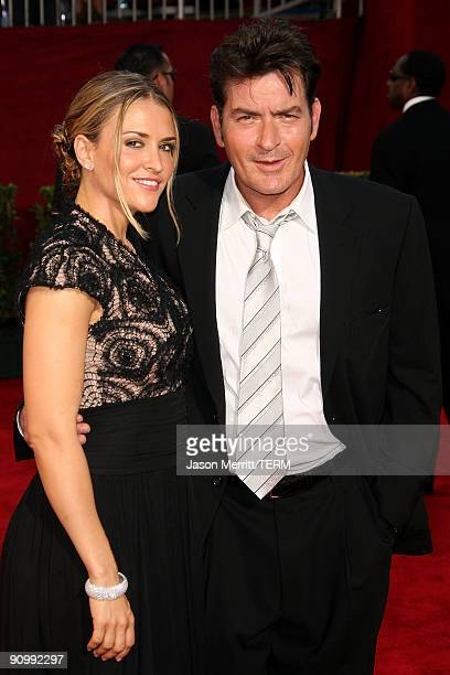 Actor Charlie Sheen and wife Brooke Mueller arrive at the 61st Primetime Emmy Awards held at the Nokia Theatre on September 20 2009 in Los Angeles...