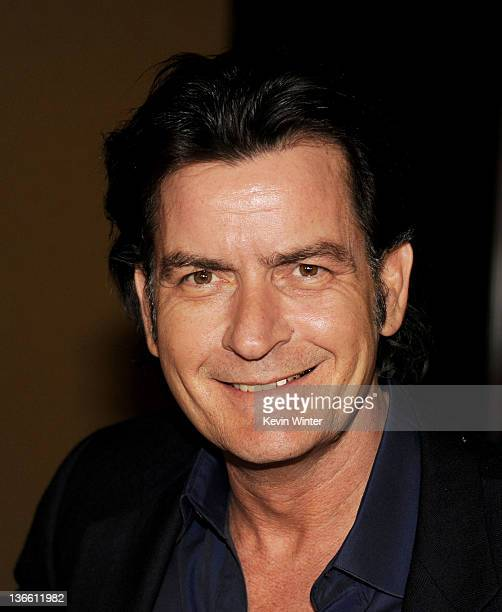 Actor Charlie Sheen appears at Fox's AllStar Party at Castle Green on January 8 2012 in Pasadena California