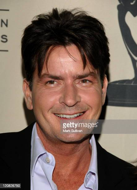 Actor Charlie Sheen arrives at An Evening with 'Two And A Half Men' held on February 27 2008 at the Academy of Television Arts Sciences in North...