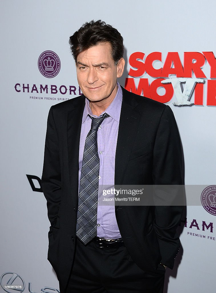 Actor <a gi-track='captionPersonalityLinkClicked' href=/galleries/search?phrase=Charlie+Sheen&family=editorial&specificpeople=206152 ng-click='$event.stopPropagation()'>Charlie Sheen</a> arrives at the Dimension Films' 'Scary Movie 5' premiere at the ArcLight Cinemas Cinerama Dome on April 11, 2013 in Hollywood, California.