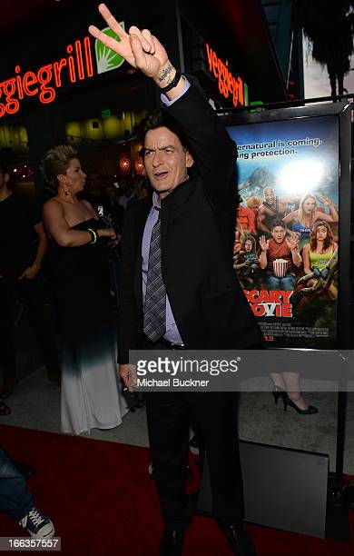 Actor Charlie Sheen arrives for the premiere of Dimension Films' 'Scary Movie 5' at ArcLight Cinemas Cinerama Dome on April 11 2013 in Hollywood...