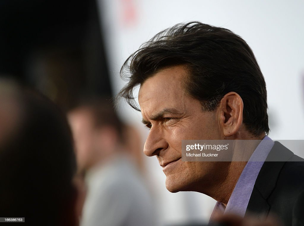 Actor <a gi-track='captionPersonalityLinkClicked' href=/galleries/search?phrase=Charlie+Sheen&family=editorial&specificpeople=206152 ng-click='$event.stopPropagation()'>Charlie Sheen</a> arrives for the premiere of Dimension Films' 'Scary Movie 5' at ArcLight Cinemas Cinerama Dome on April 11, 2013 in Hollywood, California.