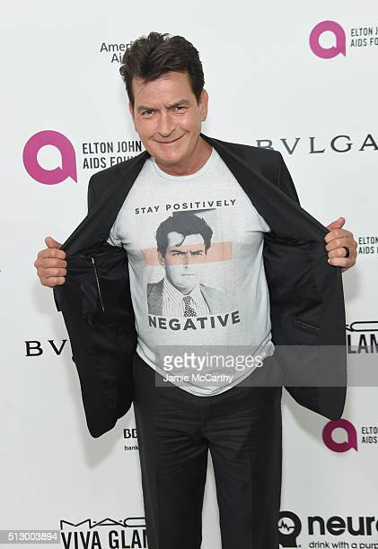 Actor Charlie Sheen attends the 24th Annual Elton John AIDS Foundation's Oscar Viewing Party at The City of West Hollywood Park on February 28 2016...