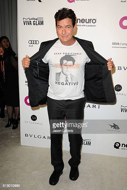 Actor Charlie Sheen attends the 24th annual Elton John AIDS Foundation's Oscar viewing party on February 28 2016 in West Hollywood California