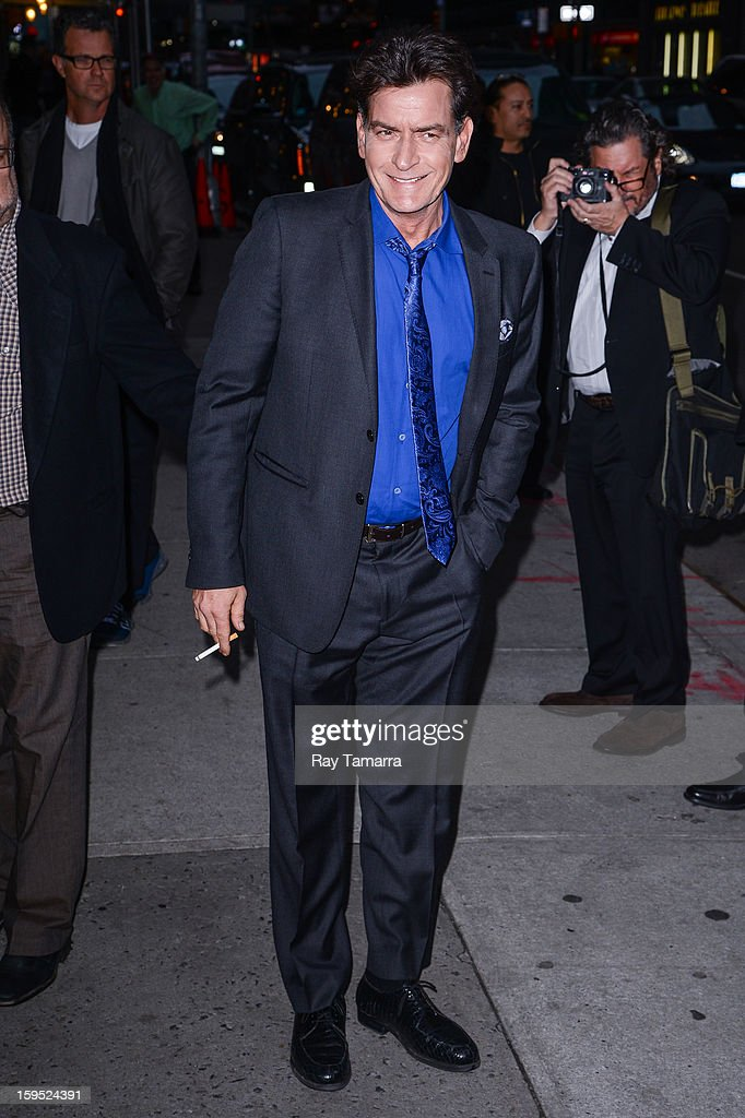 Actor <a gi-track='captionPersonalityLinkClicked' href=/galleries/search?phrase=Charlie+Sheen&family=editorial&specificpeople=206152 ng-click='$event.stopPropagation()'>Charlie Sheen</a> enters the 'Late Show With David Letterman' taping at the Ed Sullivan Theater on January 14, 2013 in New York City.