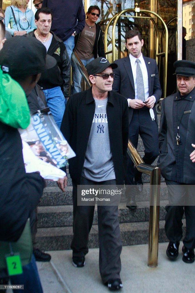 Actor Charlie Sheen seen leaving his Manhattan hotel on April 9 2011 in New York City