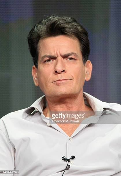 Actor Charlie Sheen speaks onstage at the 'Anger Management' panel during the FX portion of the 2012 Summer TCA Tour on July 28 2012 in Beverly Hills...
