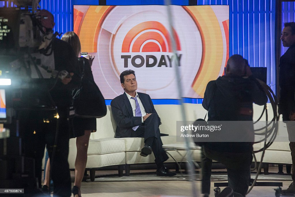 Actor Charlie Sheen waits on the set of the Today Show before formally announcing that he is HIV positive in an interview with Matt Lauer on November...