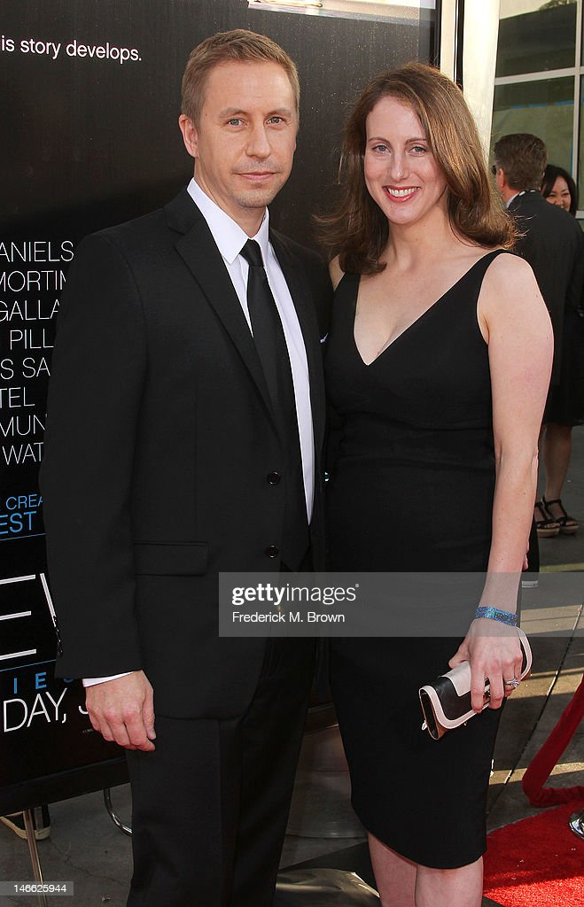 Actor Charlie Weirauch (L) and his guest attend the Premiere Of HBO's 'The Newsroom' at the ArcLight Cinemas Cinerama Dome on June 20, 2012 in Hollywood, California.