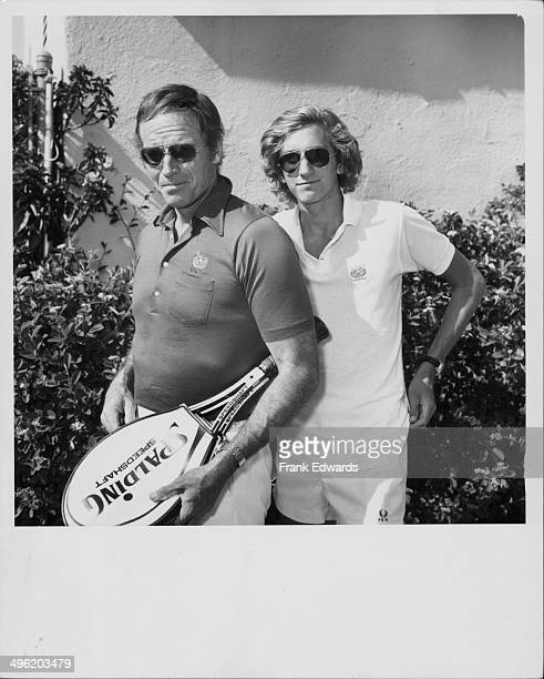 Actor Charlton Heston and his son Fraser at the Los Angeles Tennis Club for the City of Hope Benefit California April 1974