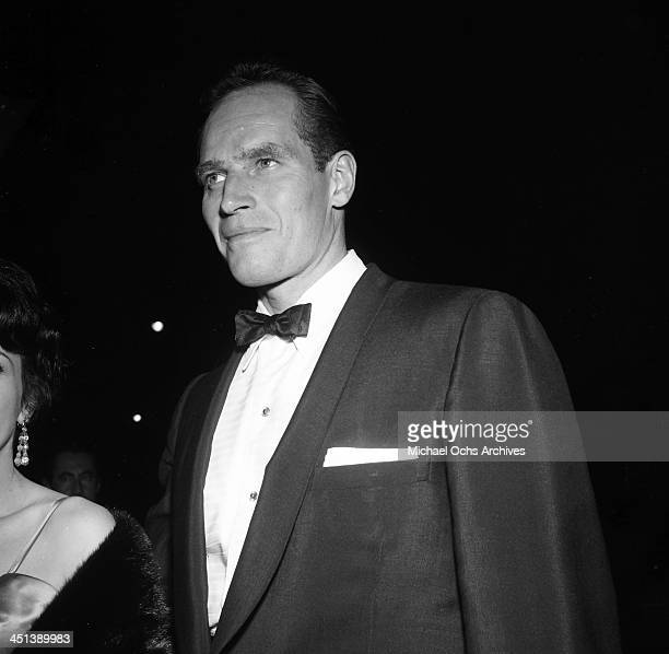Actor Charlton Heston attends a party in Los Angeles California