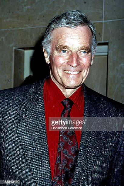 Actor Charlton Heston attends the 51st Annual Golden Apple Awards on December 8 1991 in Los Angeles California