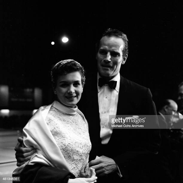 Actor Charlton Heston with wife Lydia arrive at a party in Los Angeles California