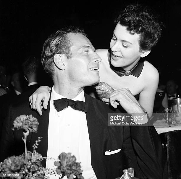 Actor Charlton Heston with wife Lydia attend the Directors Guild Dinner party in Los Angeles California