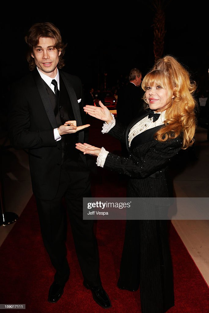 Actor Charo (R) and son Shel Rasten arrive at the 24th annual Palm Springs International Film Festival Awards Gala at the Palm Springs Convention Center on January 5, 2013 in Palm Springs, California.