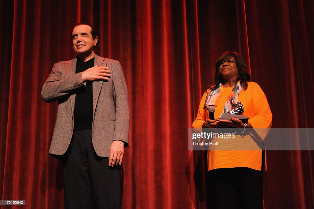 Actor Chazz Palminteri receives Golden Thumb award from Chaz Ebert onstage at the 'A BRONX TALE' Screening at Virginia Theatre during EBERTFEST 2015...