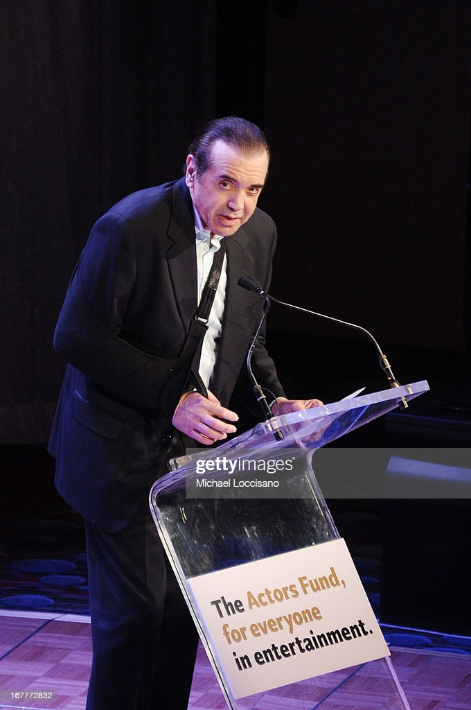 Actor <a gi-track='captionPersonalityLinkClicked' href=/galleries/search?phrase=Chazz+Palminteri&family=editorial&specificpeople=211446 ng-click='$event.stopPropagation()'>Chazz Palminteri</a> speaks onstage at the 2013 Actors Fund's Annual Gala honoring Robert De Niro at The New York Marriott Marquis on April 29, 2013 in New York City.