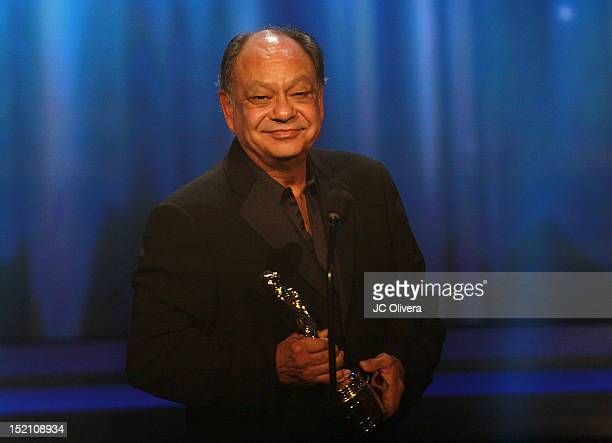 Actor Cheech Marin accepts the Outstanding Career Achievment award for writing onstage during the 2012 NCLR ALMA Awards at Pasadena Civic Auditorium...