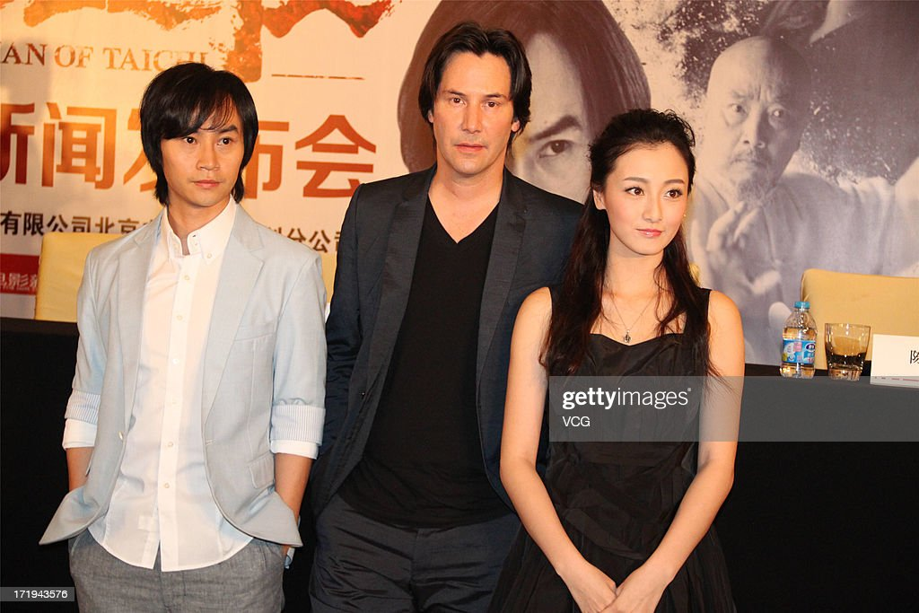 Actor Chen Hu, actor Keanu Reeves and actress Ye Qing attend 'Man of Tai Chi' press conference on June 26, 2013 in Guangzhou, China.