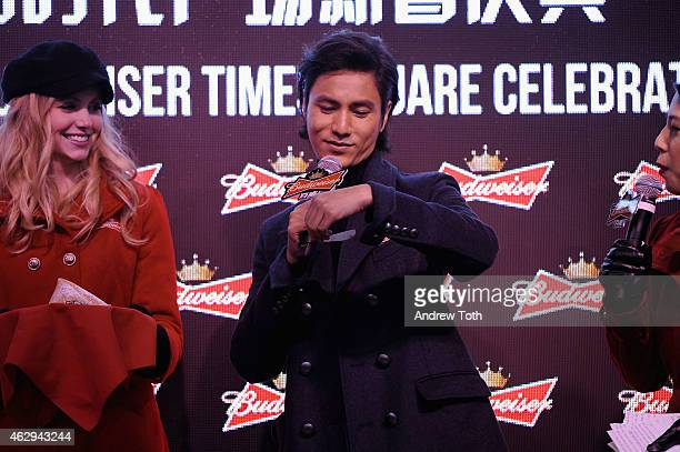 Actor Chen Kun speaks on stage during Maggie Q toasts the Chinese New Year at Times Square on February 7 2015 in New York City