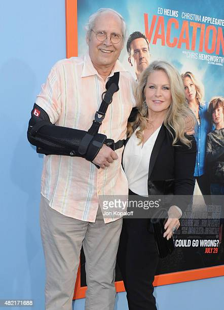 Actor Chevy Chase and actress Beverly D'Angelo arrive at the Los Angeles Premiere 'Vacation' at Regency Village Theatre on July 27 2015 in Westwood...