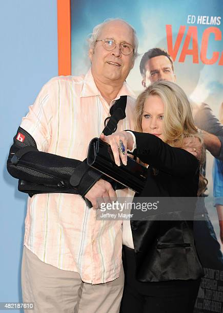 Actor Chevy Chase and actress Beverly D'Angelo arrive at the Premiere Of Warner Bros 'Vacation' at Regency Village Theatre on July 27 2015 in...