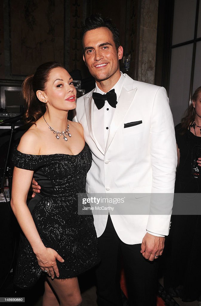Actor Cheyenne Jackson and actress Rose McGowan attend the 3rd annual amfAR Inspiration Gala New York at The New York Public Library - Stephen A. Schwarzman Building on June 7, 2012 in New York City.