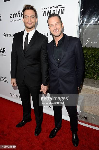 Actor Cheyenne Jackson and guest attend the 2013 amfAR Inspiration Gala Los Angeles presented by MAC Viva Glam at Milk Studios on December 12 2013 in...