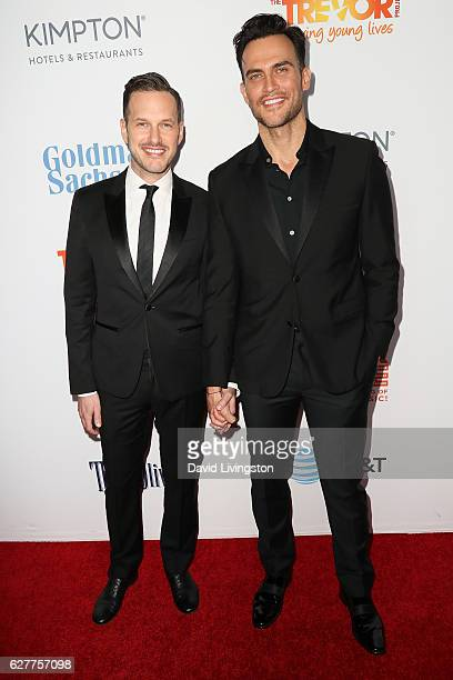 Actor Cheyenne Jackson and Jason Landau arrive at the TrevorLIVE Los Angeles 2016 Fundraiser at The Beverly Hilton Hotel on December 4 2016 in...