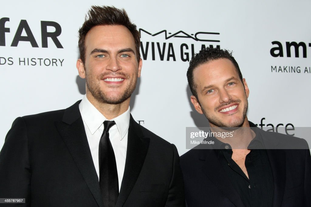 Actor Cheyenne Jackson and Jason Landau attend the 2013 amfAR Inspiration Gala Los Angeles at Milk Studios on December 12 2013 in Los Angeles...